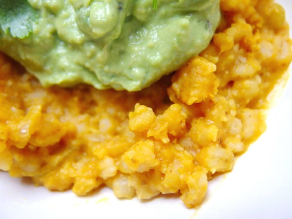 Barley Butternut Squash Risotto with Avocado Basil Cream