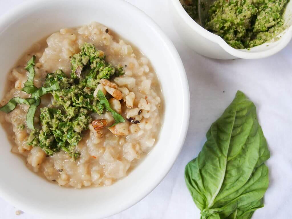 Creamy parsnip sorghum risotto with jalapeno basil pesto - Yup, it's Vegan