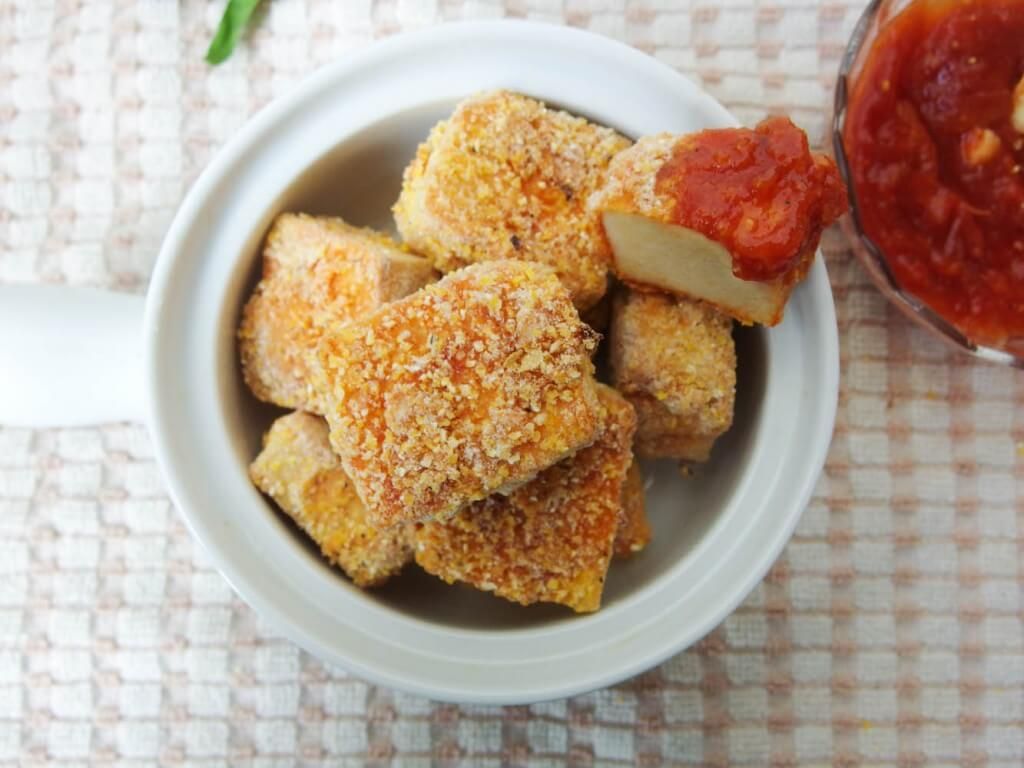 Baked sweet & sour pineapple sriracha tofu nuggets - Yup, it's Vegan