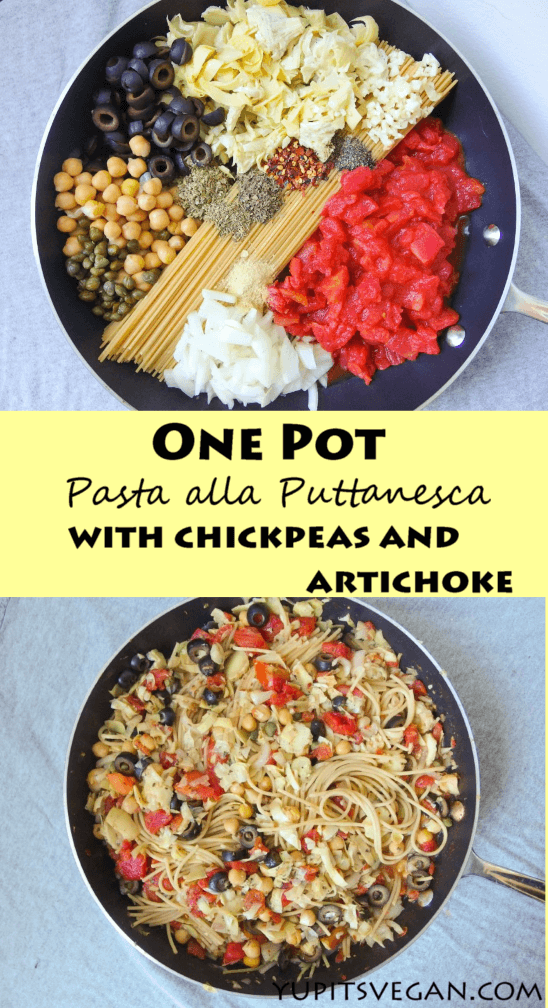 One Pot Spaghetti Alla Puttanesca | yupitsvegan.com. Easy and healthy vegan one pot pasta that cooks in 10 minutes in just ONE pan.