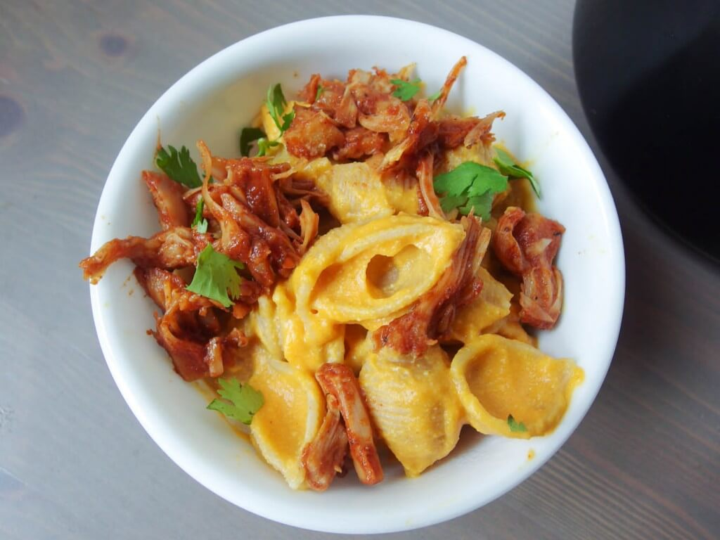 BBQ Jackfruit Sweet Potato Mac and Cheese (Vegan)