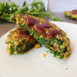 Turnip Green and Garlic Scape Chickpea Pancakes