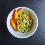 Zucchini and Cucumber Noodle Salad with Peanut Sauce and Fresh Peaches