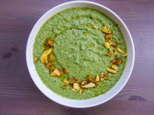 Swiss Chard Hummus with Pickled Chard Stems - Yup, it's Vegan