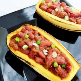 Cajun Red Bean Stuffed Delicata Squash