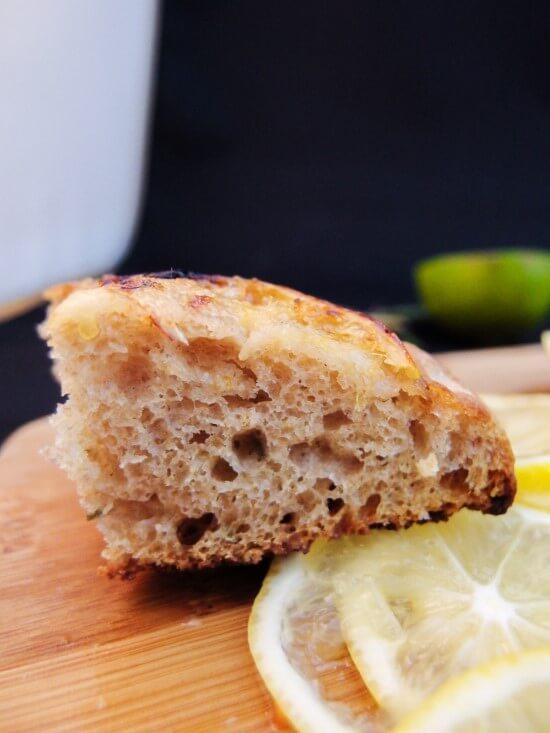 Rosemary and Meyer Lemon Focaccia Bread   yupitsvegan.com. Made with spelt flour and classic methods.