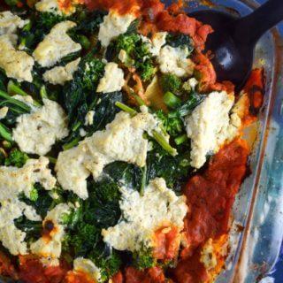 Baked Broccoli Rabe and Cauliflower Stuffed Shells
