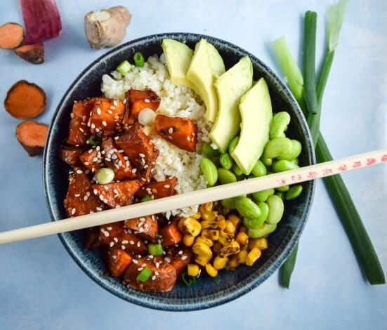 Teriyaki Cauliflower Rice BowlsYup, its Vegan