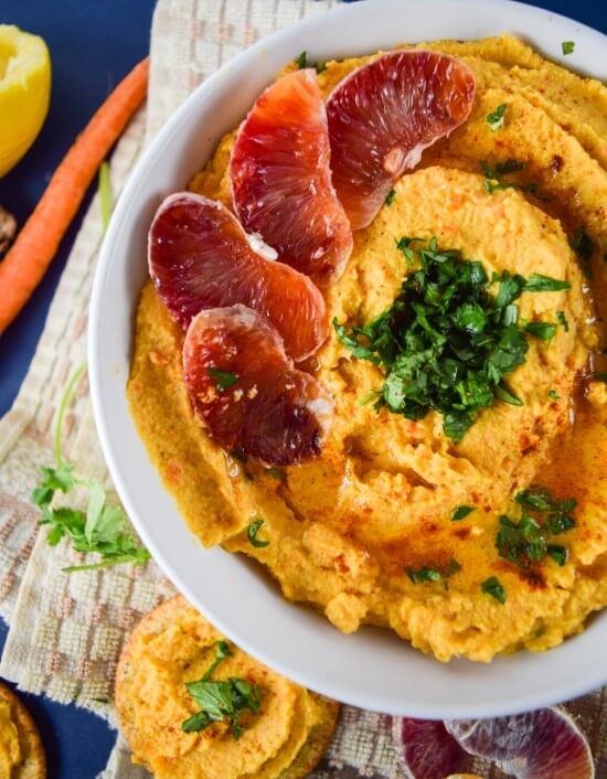 Harvest Carrot and Ginger Hummus | yupitsvegan.com. Give your hummus an Asian flare! Serving suggestion: gorgeous blood orange & hummus canapes.