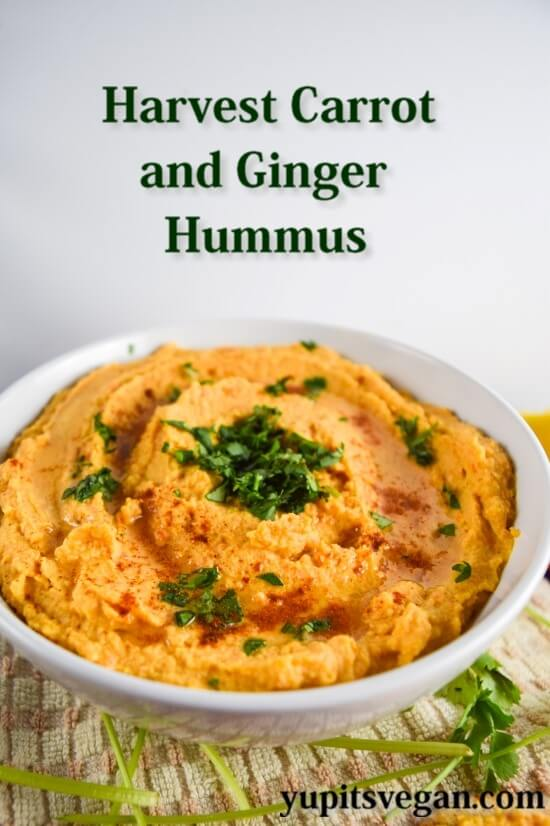 Harvest Carrot and Ginger Hummus | yupitsvegan.com. This sweet and spicy hummus is packed with veggies and perfect for spring!