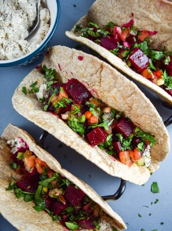 Chipotle Roasted Beet Tacos with Cashew Queso Fresco | yupitsvegan.com. Hearty vegan tacos made with chipotle-marinated roasted beets, fresh salsa, and creamy, tangy cashew cheese.