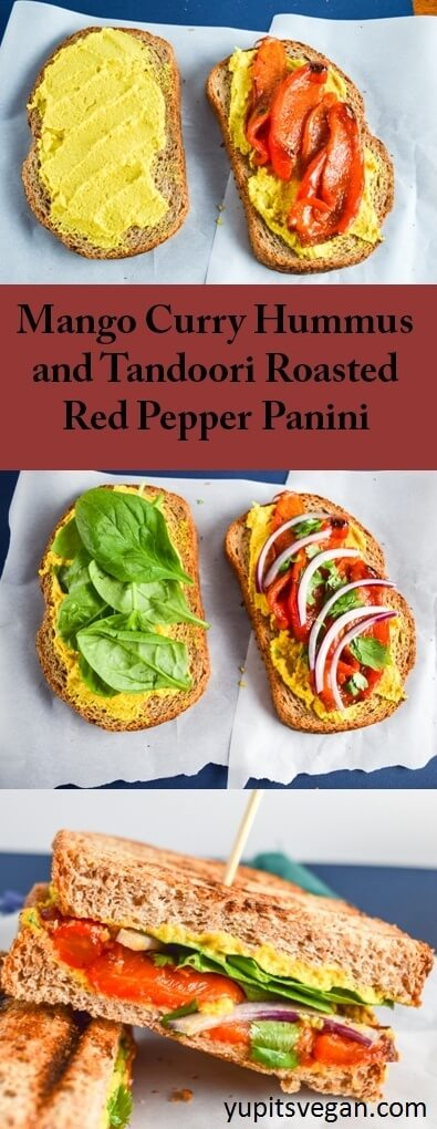 Mango Curry Hummus and Tandoori Roasted Red Pepper Panini   yupitsvegan.com. Mouthwatering, hearty, brightly-flavored vegan sandwiches made with sweet and tangy mango curry hummus and spicy tandoori-spiced roasted red peppers.