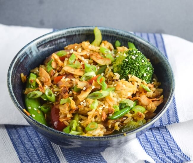 Brussels Sprouts with Shallots and Tofu Bacon from the Baconish cookbook! Recipe, review and giveaway. (Pictured is Bacon Fried Rice from the book).