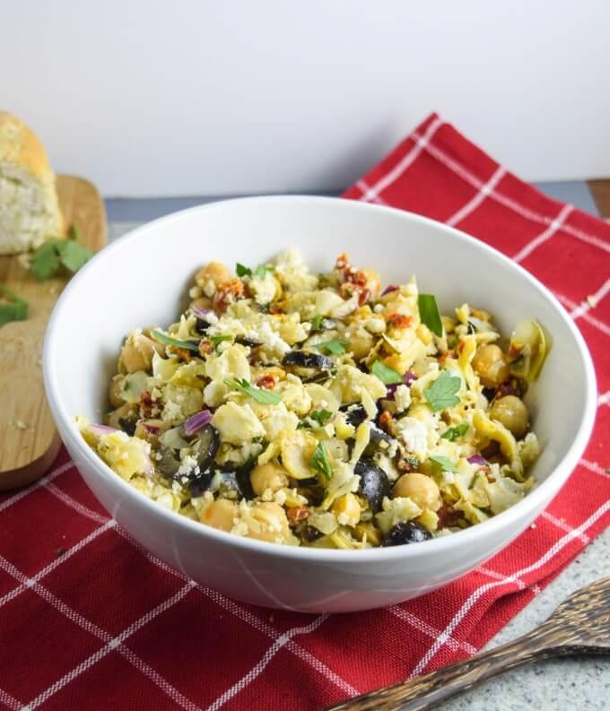 "Mediterranean Chickpea Salad | yupitsvegan.com. Light, fresh, super easy vegan chickpea salad with Mediterannean flavors and crumbled almond ""feta"". Gluten-free, grain-free recipe."