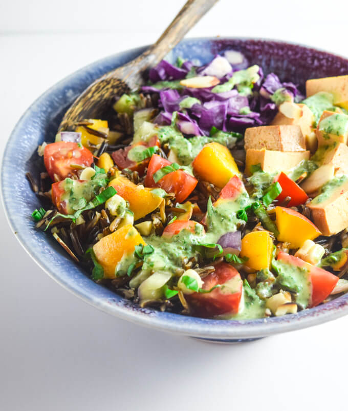 Wild Rice Salad with Creamy Basil Vinaigrette | Yup, it's Vegan. Summer-in-a-bowl salad packed with veggies, tofu, and a swoonworthy basil dressing.