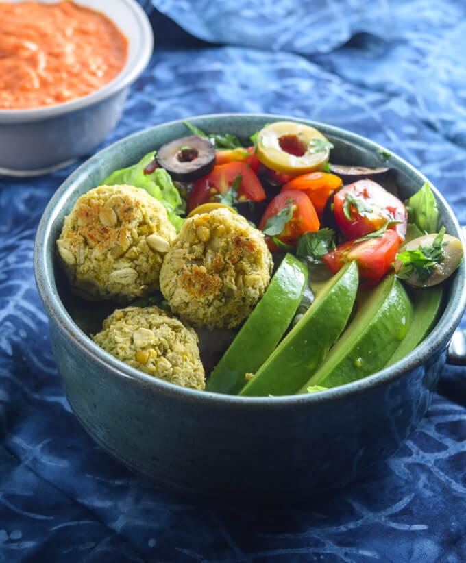 Easy Baked Falafel Salad Bowls   Yup, it's Vegan