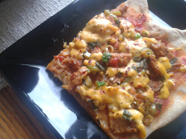 "Summer's Bounty: ""Sausage"", Pepper and Fennel Pizza with Homemade Vegan Cheese Sauce"