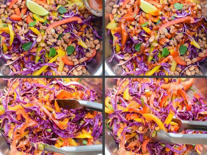 Close-up steps for making Thai cabbage salad: drizzling with red curry vinaigrette and tossing to combine