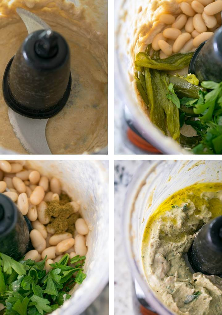 Steps to create a batch of jalapeño hummus: blend tahini, garlic and lemon; add roasted peppers herbs, and white beans; gradually drizzle in olive oil