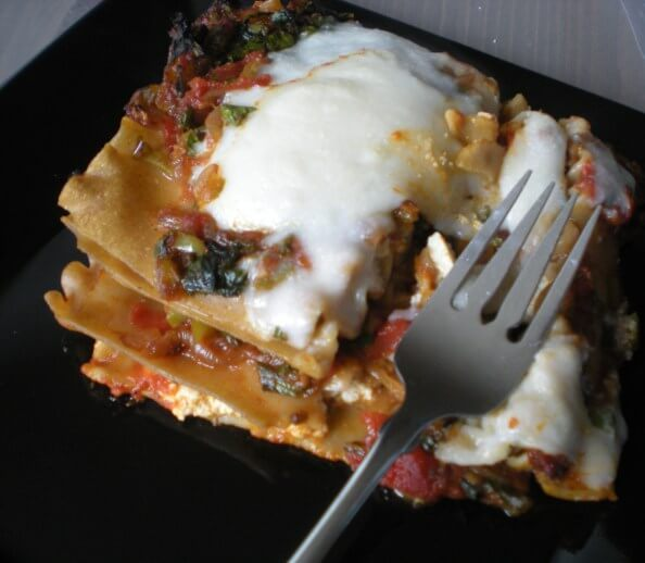Kale, Caramelized Onion, and 2-Cheese Vegan Lasagna