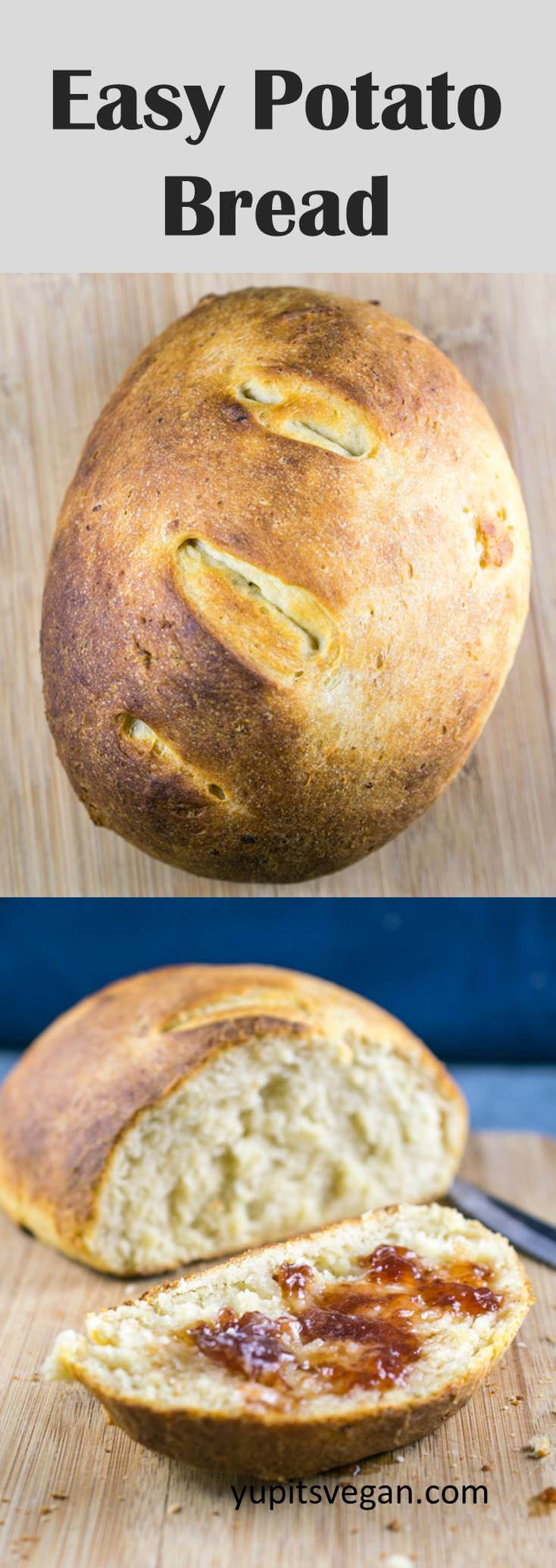 Easy Potato Bread: No fuss needed, this quick and easy bread can be made with freshly cooked potatoes or leftover mashed potatoes. Naturally vegan, dairy-free, and egg-free, and ready with only a few minutes of prep time.