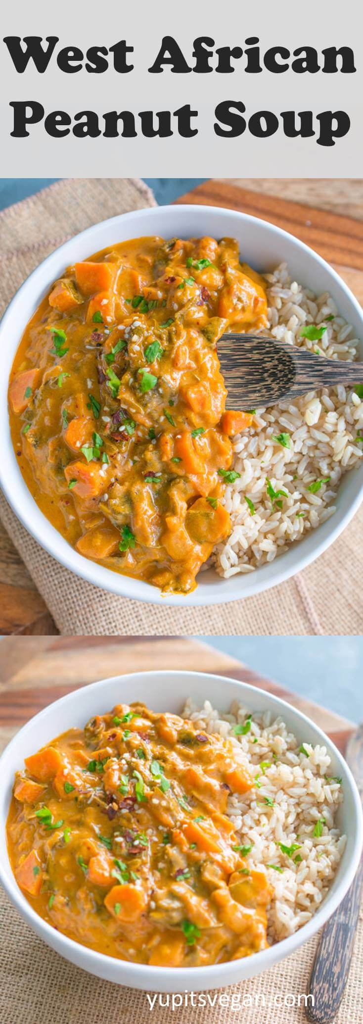 West African Peanut Soup (or Stew!). Vegan, gluten-free, packed with veggies, inspired by traditional Ghanaian flavors. Ready in 45-minutes. Nut-free and paleo options too!