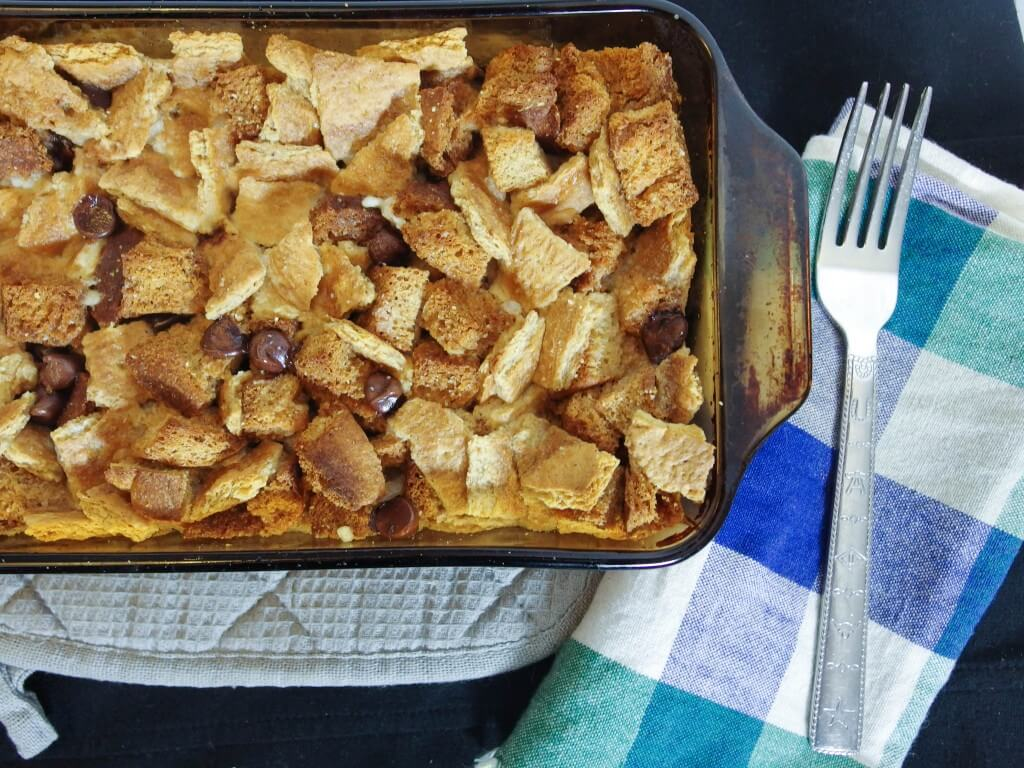 Vegan Chocolate Chip Eggnog Bread Pudding