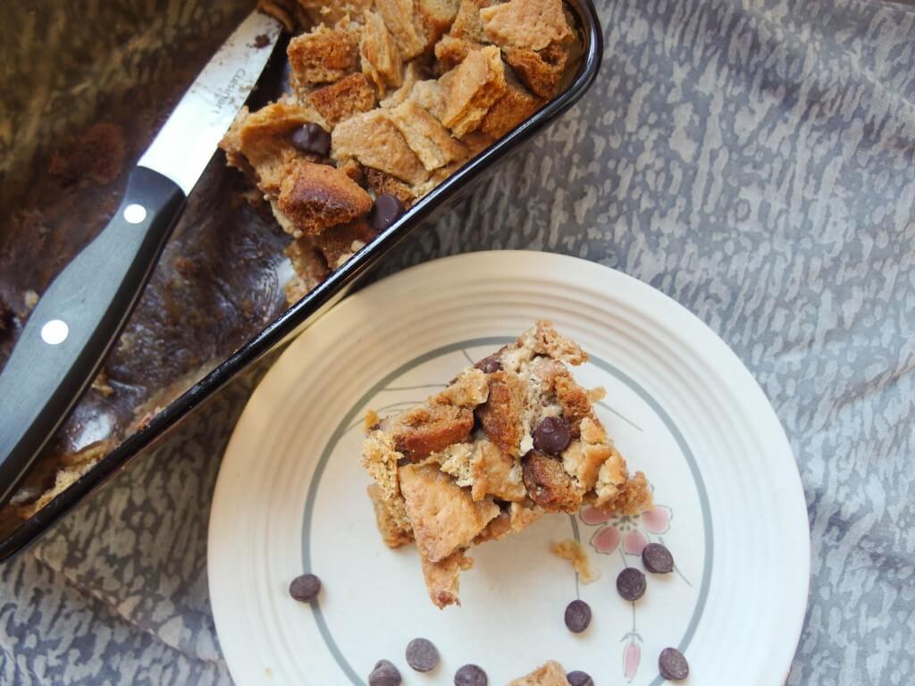 Vegan Chocolate Chip Eggnog Bread Pudding