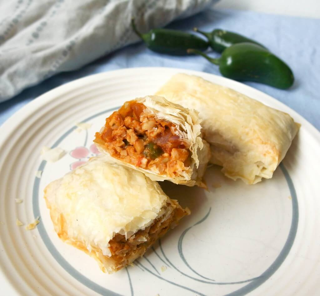 Spicy Tempeh Phyllo Rolls - Vegan Recipe