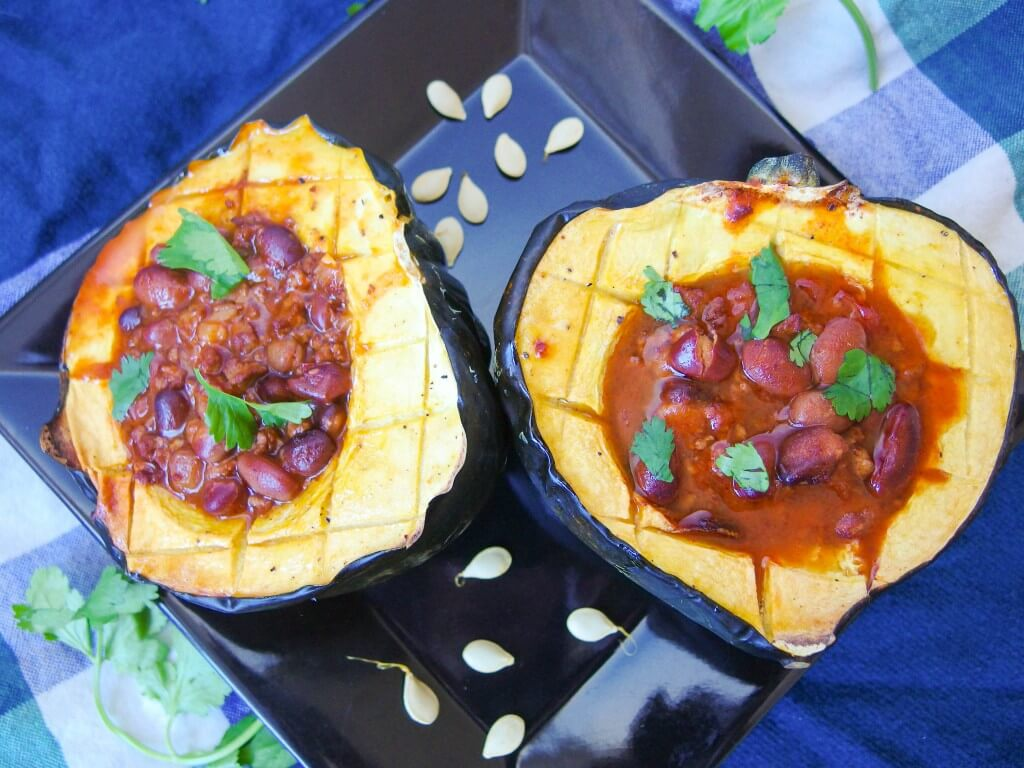 Chili Stuffed Acorn Squash - Yup, it's Vegan