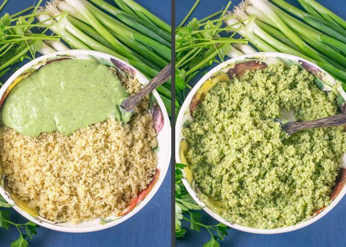 Creamy green goddess dressing being poured into a bowl of cooked quinoa and then mixed in