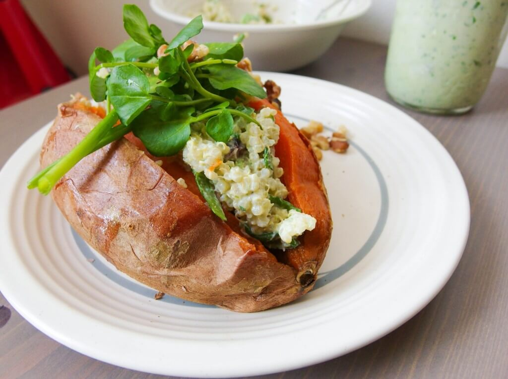Green Goddess Quinoa Stuffed Sweet Potatoes - Yup, it's Vegan