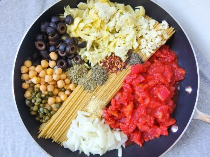 One Pot Spaghetti Puttanesca before cooking. Easy vegan one pot pasta in the style of puttanesca, with chickpeas and artichoke hearts! Whole grain and healthy.