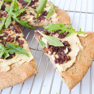 Arugula, Hummus and Olive Tapenade Flatbread & What to Do with White Bean Flour