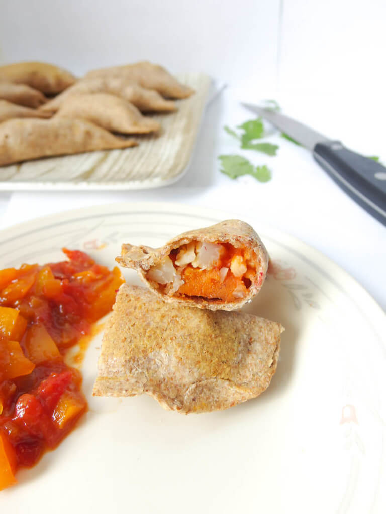 Baked Jamaican Jerk Sweet Potato Samosas - Yup, it's Vegan