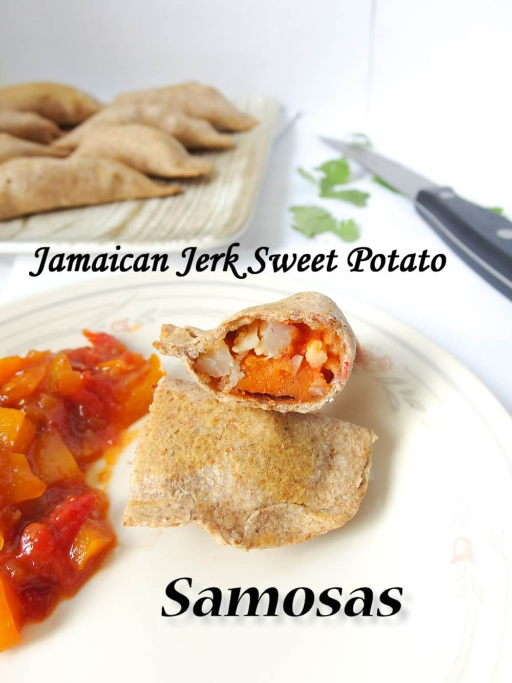Baked Jamaican Jerk Sweet Potato Samosas with Grapefruit Chutney