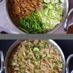 One Pot Pasta with Zucchini, Garlic Scapes, and Leeks in a White Wine Lemon Sauce