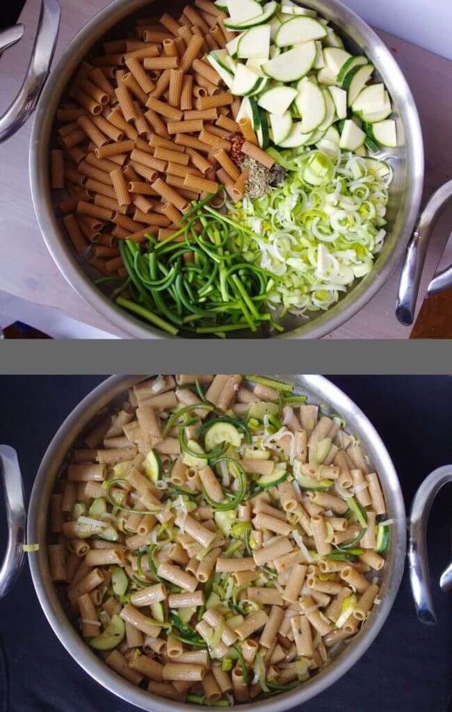one pot noodles prepared and unprepared in silver pot before and after vegan