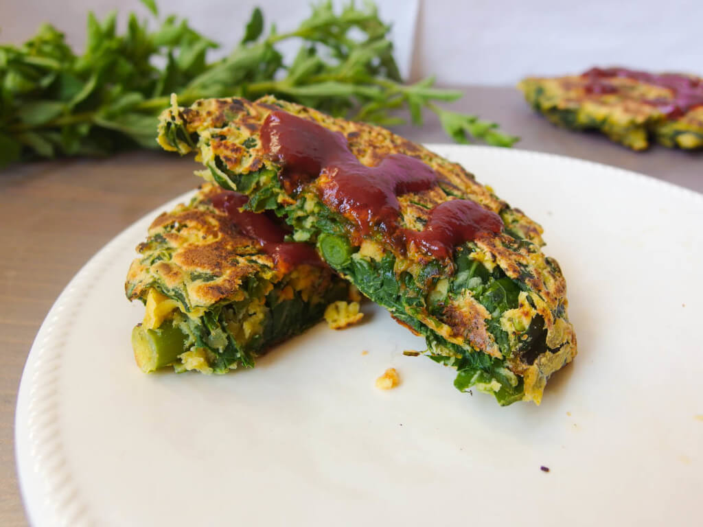 Turnip Green and Garlic Scape Chickpea Pancakes - Yup, it's Vegan