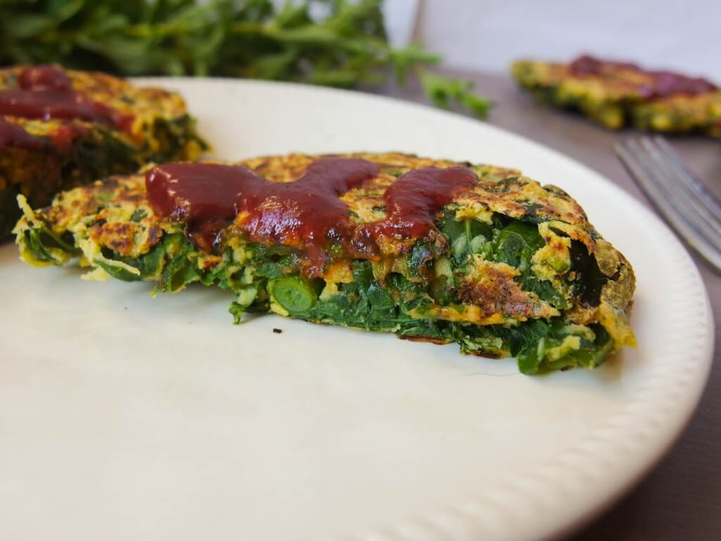 Turnip Green and Garlic Scape Chickpea Pancakes - Yup, it's Vegan