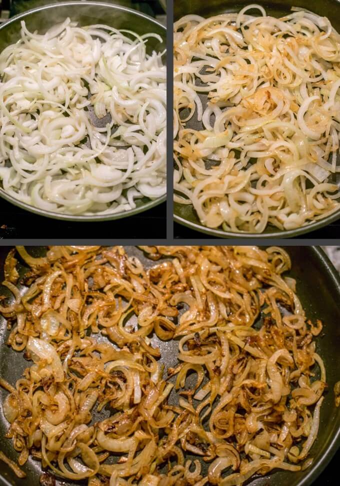 Steps to caramelize onions in a skillet for use in vegan caramelized onion kale dip