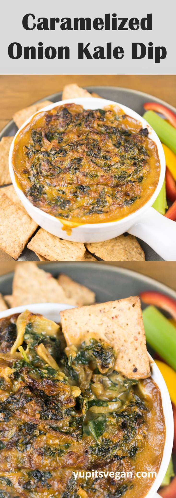 Vegan Caramelized Onion & Kale Dip: Cheesy, gluten-free, dairy-free, creamy dip with caramelized onions, garlic, and kale. Cooks in one pot!