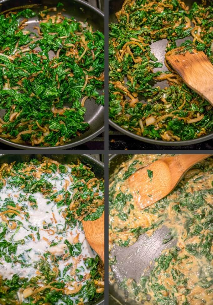 Steps to wilt the shredded kale, stir in the dry ingredients, add the liquid mixture, and cook until thickened, for making vegan caramelized onion and kale dip.