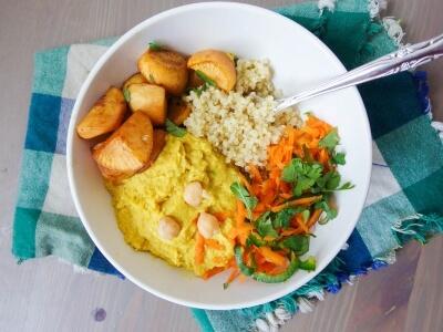 Mango Curry Hummus Quinoa Bowls