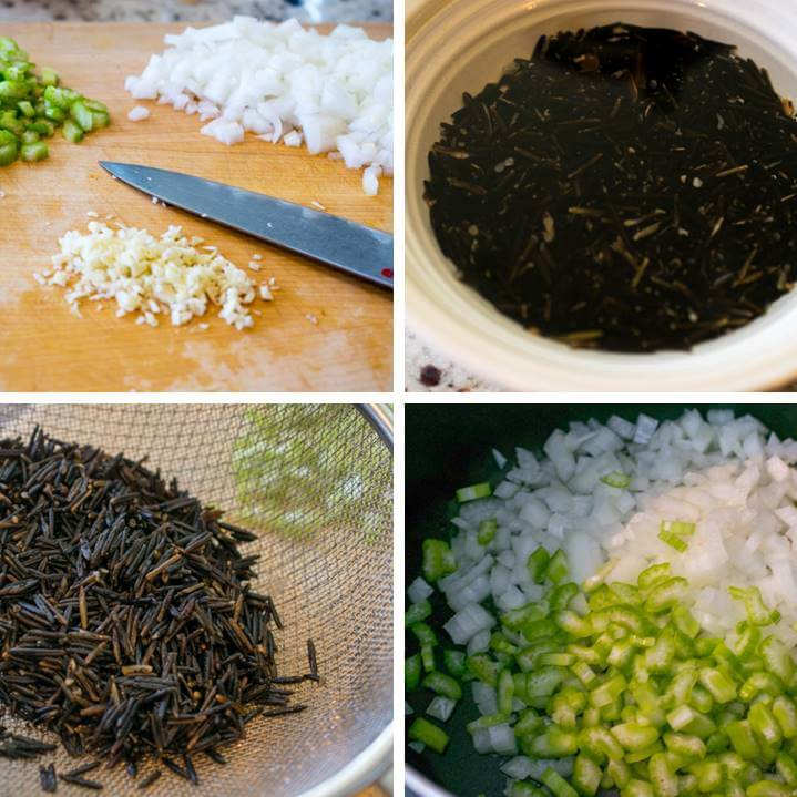 Initial steps for making vegan wild rice soup: chop vegetables, soak and drain wild rice and saute onion in a pot