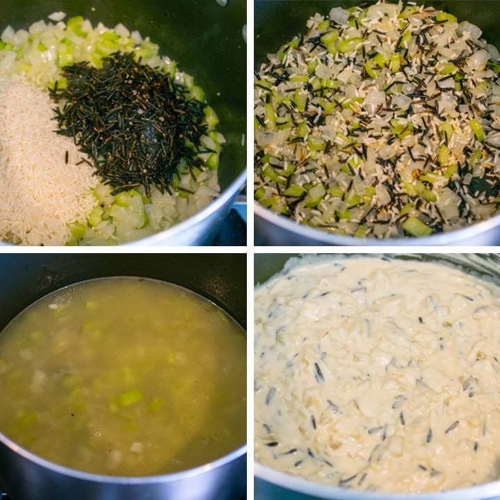 Steps for making vegan creamy wild rice soup: toast rice with onion and celery; add vegetable broth and simmer; stir in cashew cream