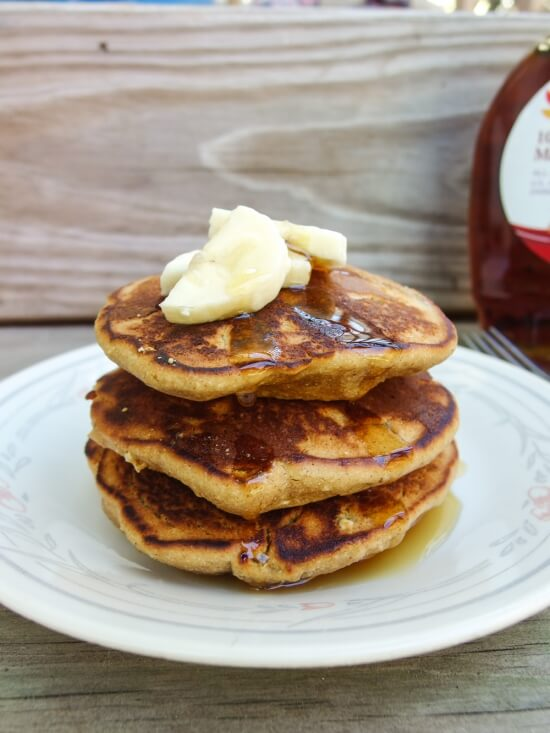 Stack of three fluffy and healthy legume flour pancakes with coconut milk - low glycemic index, healthy, and fast and easy