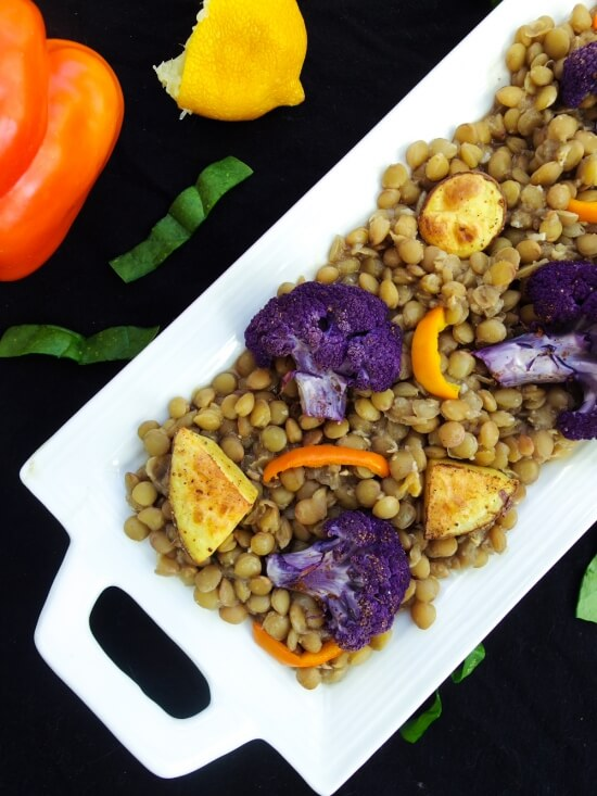 Persian Spiced Lentils with Roasted Potatoes and Cauliflower | yupitsvegan.com