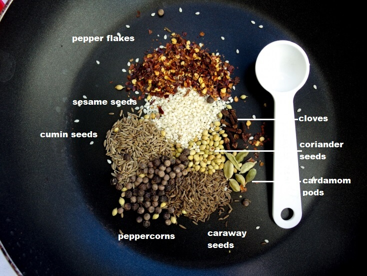 Close up breakdown of all seasonings included in mix - red pepper flakes, sesame seeds, cumin seeds, peppercorns, caraway seeds, cloves, coriander seeds, and cardamom pods - all blended to create a homemade spice mix with a kick