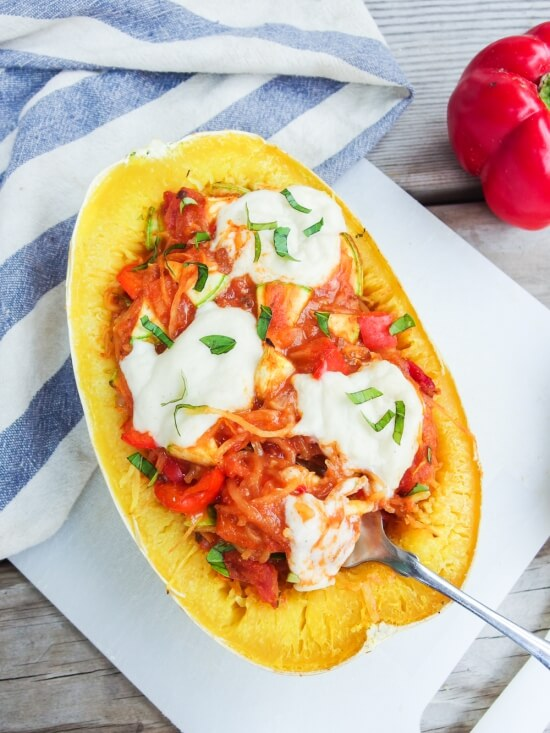 Vegan Pizza-Stuffed Spaghetti Squash | Yup, it's Vegan